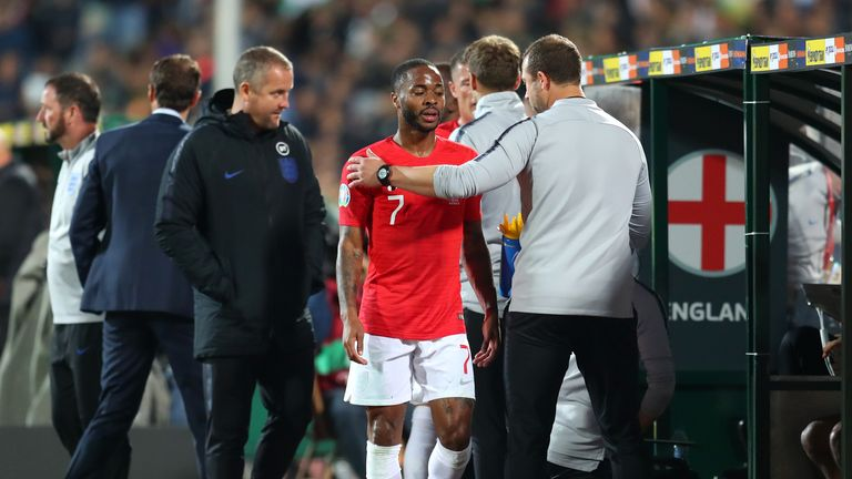 SOFIA, BULGARIA - OCTOBER 14: Raheem Sterling of England leaves the pitch after being substituted during the UEFA Euro 2020 qualifier between Bulgaria and England on October 14, 2019 in Sofia, Bulgaria. (Photo by Catherine Ivill/Getty Images)
