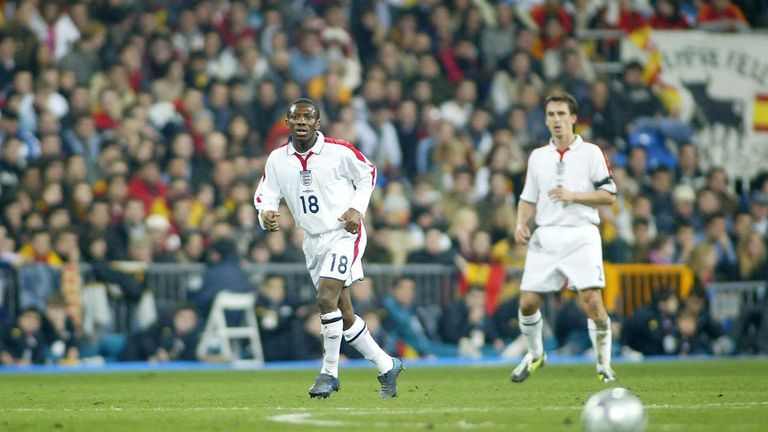 England's Shaun Wright Phillips in action during their International friendly match against Spain at The Bernabeu Stadium, Madrid. Sports Minister Richard Caborn demanded action Thursday November 18, 2004 after England's black football players were subjected to racist abuse for the second night running when the national side played a friendly against Spain. Mr Caborn condemned last night's racial chanting against Ashley Cole and Shaun Wright-Phillips and said he would write to his Spanish counterpart later today.   THIS PICTURE CAN ONLY BE USED WITHIN THE CONTEXT OF AN EDITORIAL FEATURE. NO WEBSITE/INTERNET USE UNLESS SITE IS REGISTERED WITH FOOTBALL ASSOCIATION PREMIER LEAGUE.
