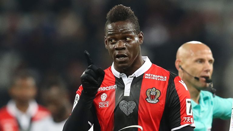 "Nice's Italian forward Mario Balotelli reacts  during the French L1 football match Nice vs Amiens on January 13, 2018 at the ""Allianz Riviera"" stadium in Nice, southeastern France.  / AFP PHOTO / VALERY HACHE        (Photo credit should read VALERY HACHE/AFP/Getty Images)"