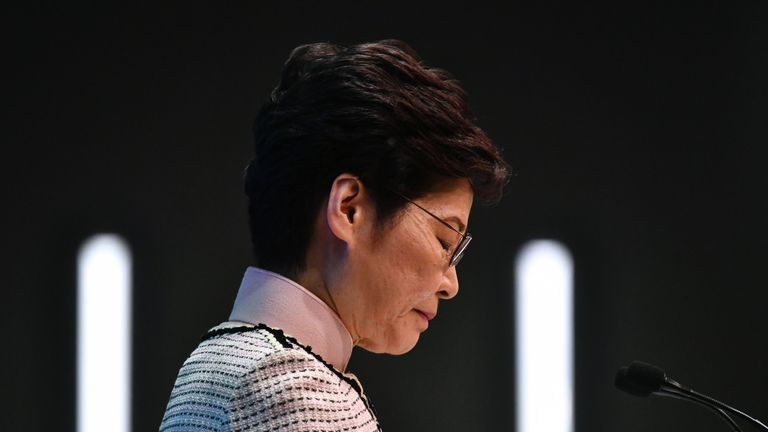 Hong Kong's Chief Executive Carrie Lam speaks at a press conference in Hong Kong on October 16, 2019, after she tried twice to begin her annual policy address inside the city's legislature. - Hong Kong's embattled leader abandoned a State of the Union-style speech on October 16 after she was heckled by rowdy opposition lawmakers during chaotic scenes inside the Legislative Council. (Photo by Anthony WALLACE / AFP) (Photo by ANTHONY WALLACE/AFP via Getty Images)