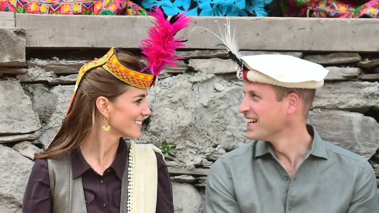 The Duke and Duchess of Cambridge during a visit to a settlement of the Kalash people in Chitral, Pakistan on the third day of the royal visit to the country.