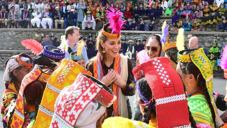 The Duchess of Cambridge during a visit to a settlement of the Kalash people in Chitral, Pakistan on the third day of the royal visit to the country.