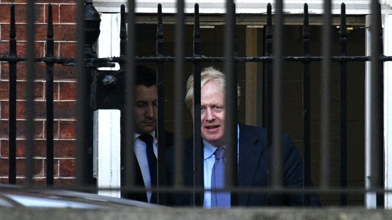 LONDON, ENGLAND - OCTOBER 17: British Prime Mininster, Boris Johnson departs from the rear of 10 Downing Street on October 17, 2019 in London, England. British Prime Minister Boris Johnson will travel to Brussels to attend his first EU Council Meeting today as he hopes to finalise the Brexit Deal.(Photo by Leon Neal/Getty Images)