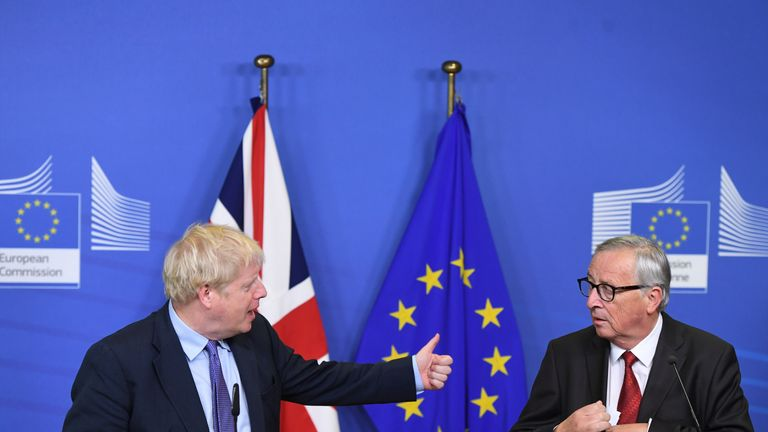 UK Prime Minister Boris Johnson and Jean-Claude Juncker, President of the European Commission, ahead of the opening sessions of the European Council summit at EU headquarters in Brussels.