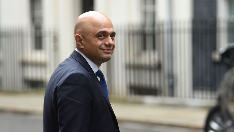 Chancellor of the Exchequer Sajid Javid arrives at 10 Downing Street, London, ahead of a Cabinet meeting.