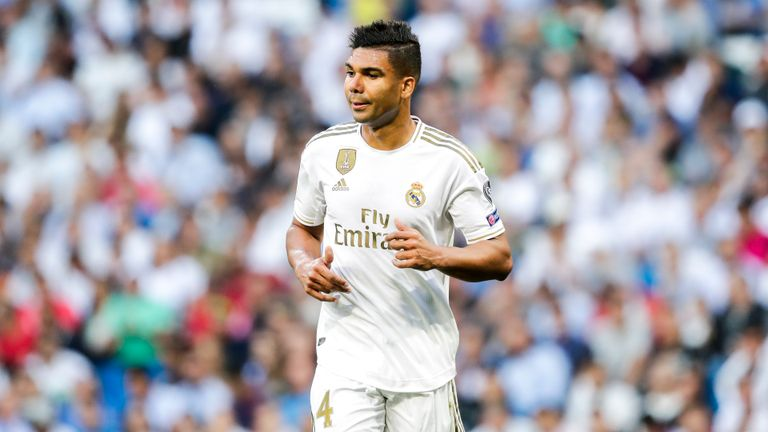 MADRID, SPAIN - OCTOBER 1: Casemiro of Real Madrid during the UEFA Champions League  match between Real Madrid v Club Brugge at the Santiago Bernabeu on October 1, 2019 in Madrid Spain (Photo by David S. Bustamante/Soccrates/Getty Images)