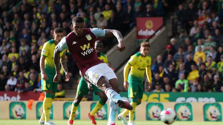 "Soccer Football - Premier League - Norwich City v Aston Villa - Carrow Road, Norwich, Britain - October 5, 2019  Aston Villa's Wesley misses a chance to score from the penalty spot   REUTERS/Chris Radburn  EDITORIAL USE ONLY. No use with unauthorized audio, video, data, fixture lists, club/league logos or ""live"" services. Online in-match use limited to 75 images, no video emulation. No use in betting, games or single club/league/player publications.  Please contact your account representative for further details."