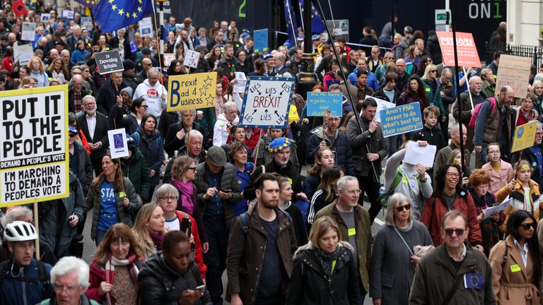 Anti-Brexit campaigners take part in the People's Vote March in London.