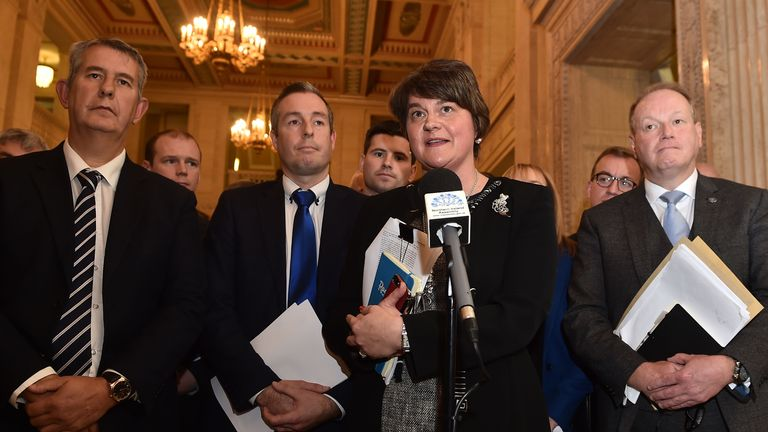 BELFAST, NORTHERN IRELAND - OCTOBER 21: Arlene Foster, leader of the Democratic Unionist Party (C) speaks after a meeting of the Stormont Assembly on abortion rights and gay marriage on October 21, 2019 in Belfast, United Kingdom. Northern Ireland's banning abortion and gay marriage laws are set to be liberalized tonight unless its devolved government is reconstituted. (Photo by Charles McQuillan / Getty Images)