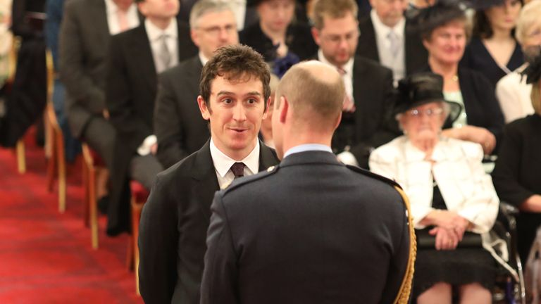 Geraint Thomas is made an OBE (Officer of the Order of the British Empire) by the Duke of Cambridge at Buckingham Palace, London.