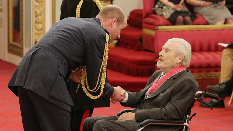Terry O'Neill is made a CBE (Commander of the Order of the British Empire) by the Duke of Cambridge at Buckingham Palace, London.