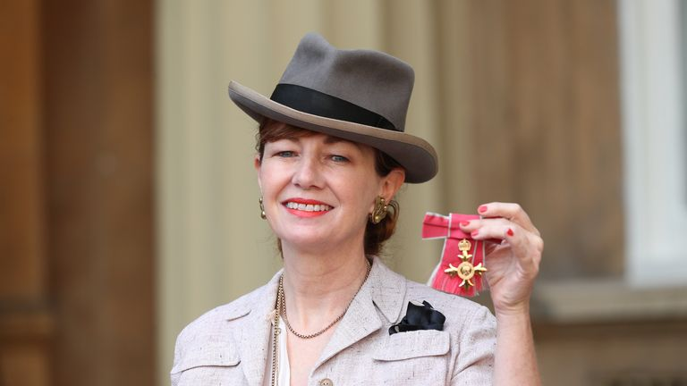 Production designer Bunny Christie with her Officer of the Order of the British Empire (OBE) medal following an investiture ceremony at Buckingham Palace, London.