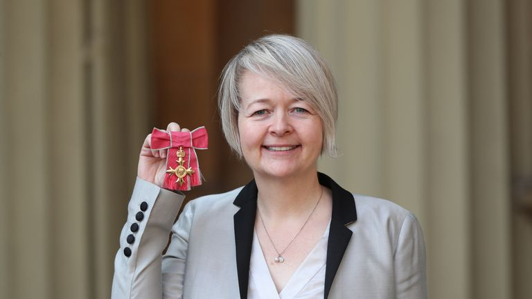 Author Sarah Waters with her Officer of the Order of the British Empire (OBE) medal following an investiture ceremony at Buckingham Palace, London.