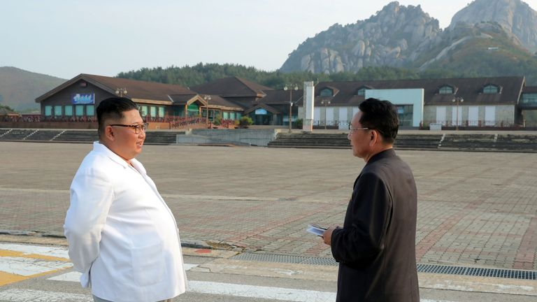 North Korean leader Kim Jong Un inspects the Mount Kumgang tourist resort, North Korea, in this undated picture released by North Korea's Central News Agency (KCNA) on October 23, 2019.     KCNA via REUTERS    ATTENTION EDITORS - THIS IMAGE WAS PROVIDED BY A THIRD PARTY. REUTERS IS UNABLE TO INDEPENDENTLY VERIFY THIS IMAGE. NO THIRD PARTY SALES. SOUTH KOREA OUT. NO COMMERCIAL OR EDITORIAL SALES IN SOUTH KOREA.