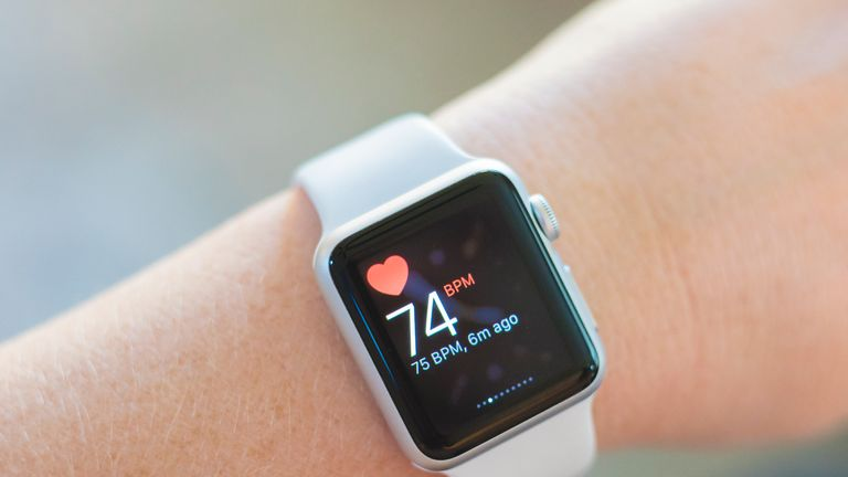 Las Vegas, USA - February 3, 2016: An editorial stock photograph of the Apple watch showing the heart rate screen.