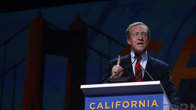 SAN FRANCISCO, CALIFORNIA - JUNE 01: Tom Steyer speaks during the California Democrats 2019 State Convention at the Moscone Center on June 01, 2019 in San Francisco, California. Several Democratic presidential cadidates are speaking at the California Democratic Convention that runs through Sunday. (Photo by Justin Sullivan/Getty Images)