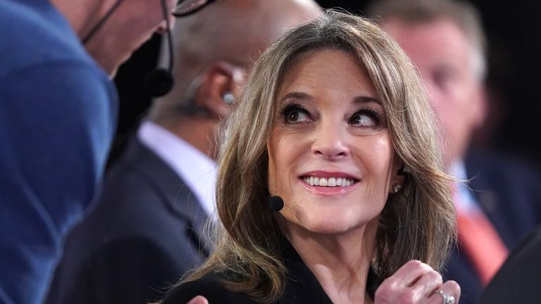 DETROIT, MICHIGAN - JULY 30: Democratic presidential candidate Marianne Williamson prepares for a television interview after the Democratic Presidential Debate at the Fox Theatre July 30, 2019 in Detroit, Michigan. 20 Democratic presidential candidates were split into two groups of 10 to take part in the debate sponsored by CNN held over two nights at Detroit's Fox Theatre.  (Photo by Scott Olson/Getty Images)