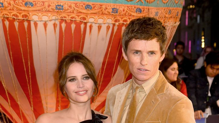 "LONDON, ENGLAND - OCTOBER 07: Felicity Jones and Eddie Redmayne attend ""The Aeronauts"" UK Premiere during the 63rd BFI London Film Festival at the Odeon Luxe Leicester Square on October 07, 2019 in London, England. (Photo by Dave J Hogan/Getty Images)"