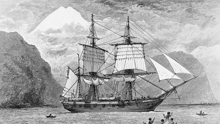 (Original Caption) 1890-Illustration of the H.M.S. Beagle carrying Charles Darwin's expedition in the Straits of Magellan, Mt. Sarmiento in the distance.