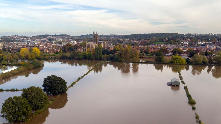 Aerial view of flooding in Worcester, as the UK has been hit by widespread flooding after rivers burst their banks following the weekend???s heavy rain.