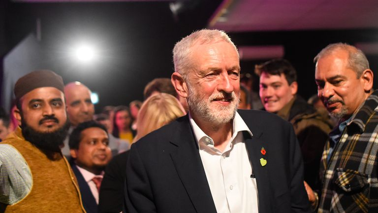 LONDON, ENGLAND - OCTOBER 30: Labour leader Jeremy Corbyn speaks to activists on October 30, 2019 in London, England. Jeremy Corbyn spoke to Labour activists in the key marginal seat of Harrow East as he launched local Labour candidate, Pamela Fitzpatrick's election campaign. The Brexmas General Election will take place on Thursday 12 December 2019. (Photo by Peter Summers/Getty Images)