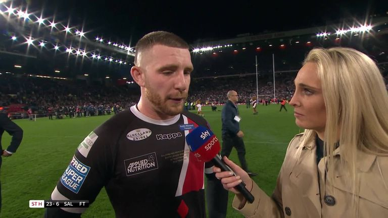 Salford's Jackson Hastings says that the Red Devils threw everything they could at St Helens
