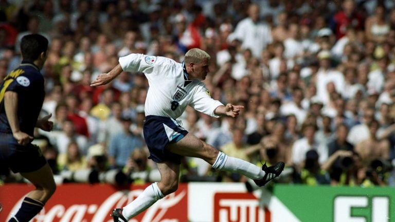 15 Jun 1996: Paul Gascoigne of England scores their second goal during the European Championship match against Scotland at Wembley Stadium in London. England won the match 2-0. \ Mandatory Credit: Stu Forster/Allsport