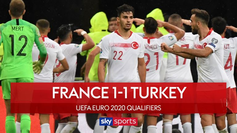 Highlights of the European Qualifying Group H match between France and Turkey