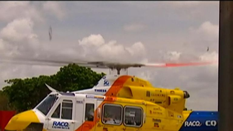 Shark attack victim is airlifted to hospital in Queensland