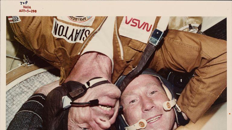 Donald K Deke Deke Slayton (E), US Anchor Module Pilot and Alexei Arkhipovich Leonov, Commander of the Soviet Mission during the US-USSR Apollo-Soyuz Joint Test Project