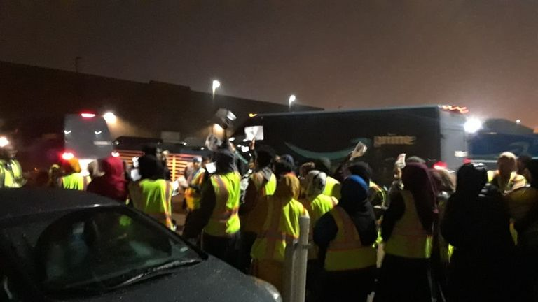 Amazon workers protesting on Thursday night. Pic: The Atwood Centre