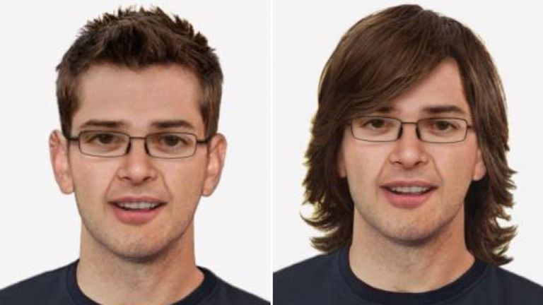 New pictures of how Andrew would look with short hair, and with long hair and glasses. Pic: South Yorkshire Police