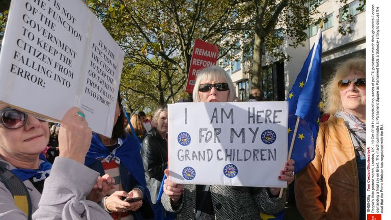 Pro EU protesters march through central London demanding a final say on Brexit. Pic: Tom Corban/Shutterstock