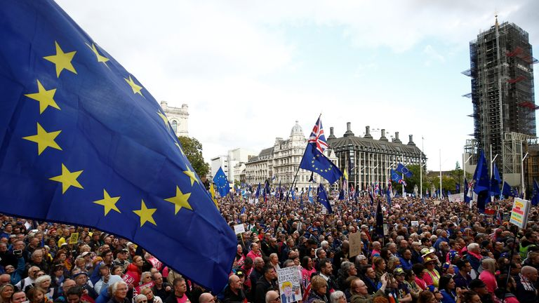 EU supporters march as parliament sits on a Saturday for the first time since the 1982 Falklands War