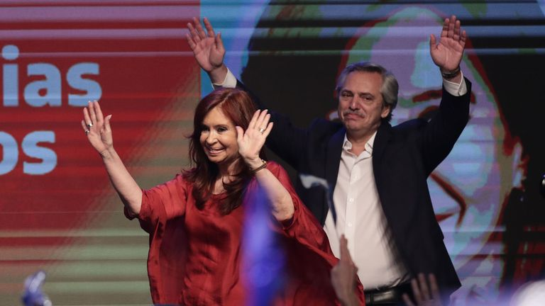 Argentina's president elect Alberto Fernandez and vice-president Cristina Fernandez thank supporters in Buenos Aires