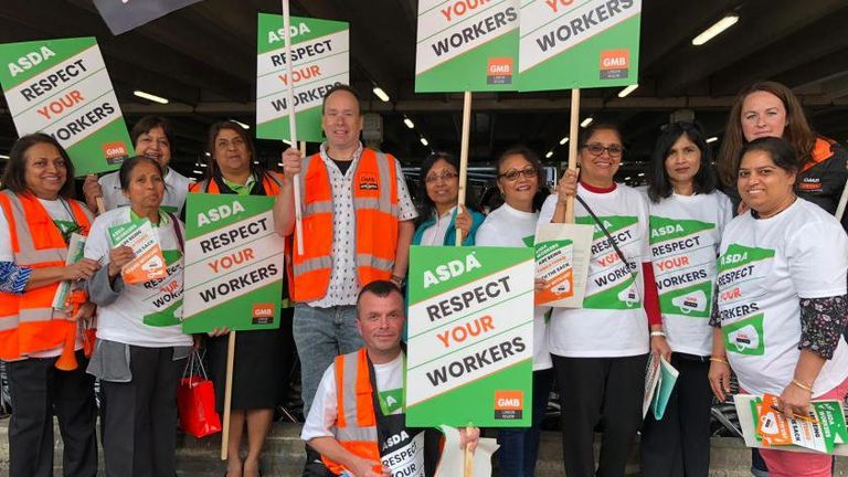 Asda staff travelled to Leeds from across the country to stage their protest march. Pic: GMB