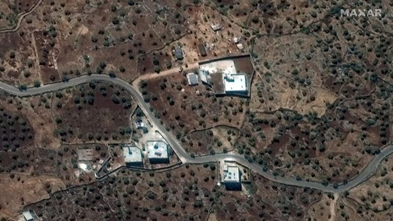 The house where al Baghdadi was allegedly living near the village of Barisha, Syria