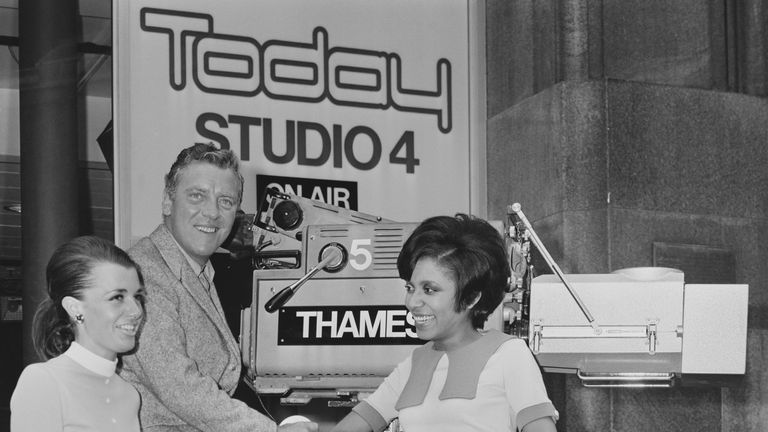 Irish radio and television presenter Eamonn Andrews (1922 - 1987), Jamaican author Barbara Blake-Hannah, and British reporter Jane Probyn at Thames Television's 'Today' programme, UK, 29th July 1968. (Photo by Larry Ellis/Daily Express/Getty Images)