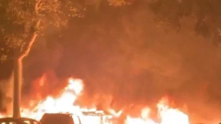 Protesters burn cars in Barcelona