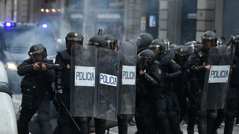 Police responded with rubber bullets and baton charges