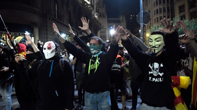 Pro-independence masked protesters took part in a stand-off with police on Saturday night
