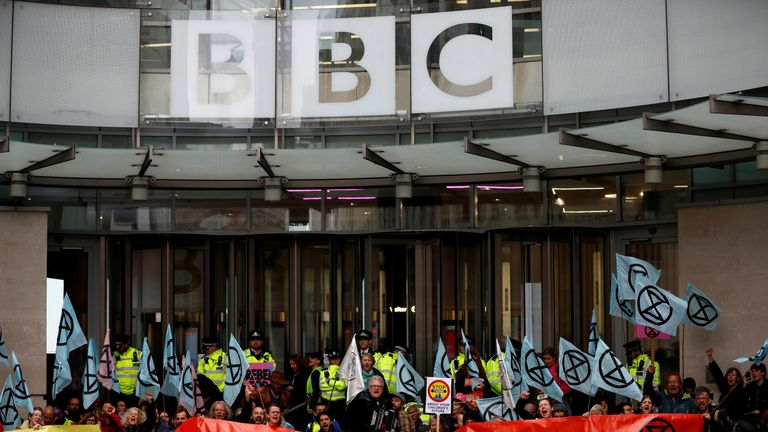 Extinction Rebellion protesters blocked the entrance of BBC headquarters