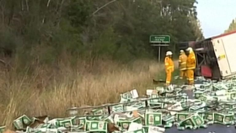 Hundreds of cases of beer were shed over the road in Glenthorne, Australia