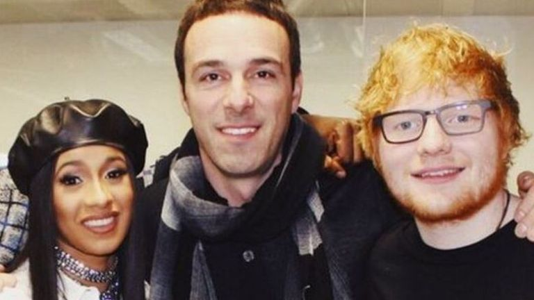 Ben Cook (centre) pictured with Cardi B and Ed Sheeran