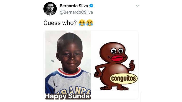 Silva posted an image of a young Mendy next to an image of the mascot of confectionery brand Conguitos