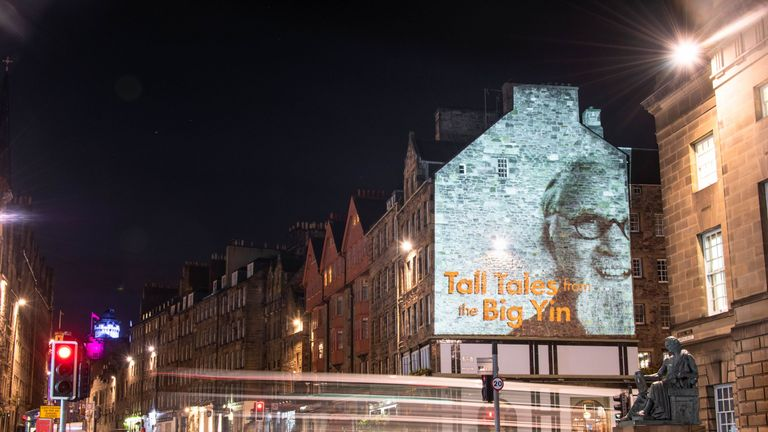 Sir Billy's image was projected onto buildings in Glasgow and Edinburgh. Pic: Muckle Media