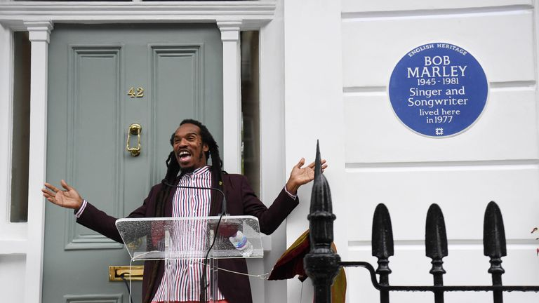 Poet Benjamin Zephaniah unveils an English Heritage blue plaque for Bob Marley, at his home on Oakley Street in Battersea, London