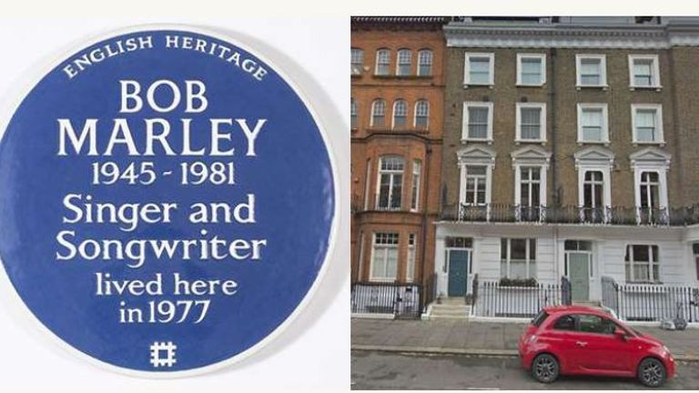 English Heritage have unveiled a blue plaque for Bob Marley at his former home in Chelsea
