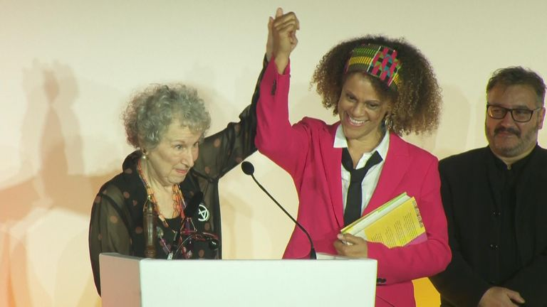 Margaret Atwood and Bernadine Evaristo accept the Booker Prize 2019