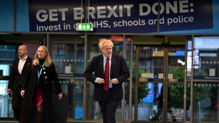 MANCHESTER, ENGLAND - OCTOBER 01: Prime Minister Boris Johnson arrives for the third day of the Conservative Party Conference at Manchester Central on October 1, 2019 in Manchester, England. Despite Parliament voting against a government motion to award a recess, Conservative Party Conference still goes ahead. Parliament will continue with its business for the duration. (Photo by Jeff J Mitchell/Getty Images)